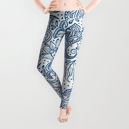 Blue ethnic ornate floral paisley pattern Leggings