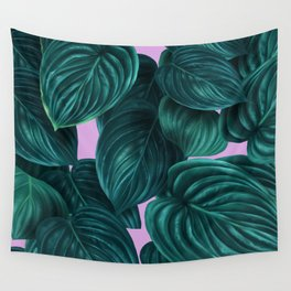 tropical green pattern on pink Wall Tapestry