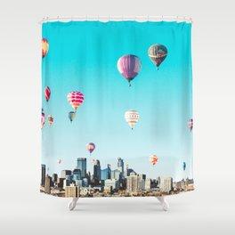 Minneapolis, Minnesota Skyline with Hot Air Balloons Over the City Skyline Shower Curtain