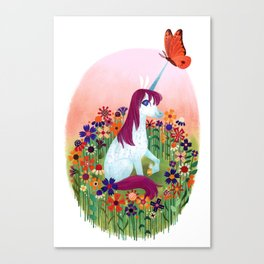 Uni the Unicorn: In the Flowers Canvas Print