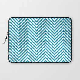 Bondi Blue on White Chevron Wave Pattern Laptop Sleeve