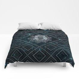 Gemini Zodiac Silver Embossed on the Star sky Comforters