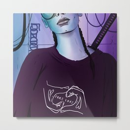 Girl with sword Metal Print