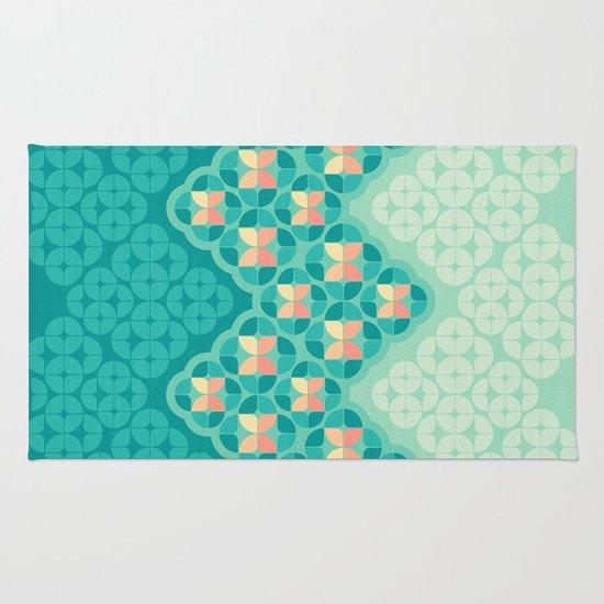 Blue Garden Pattern Rug