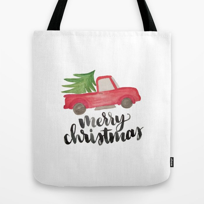 Merry Christmas Vintage Truck With Tree Tote Bag By Cococreatess