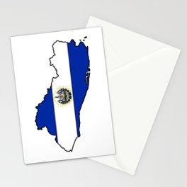 El Salvador Map with Salvadoran Flag Stationery Cards