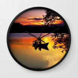 Sunset Fishing Wall Clock