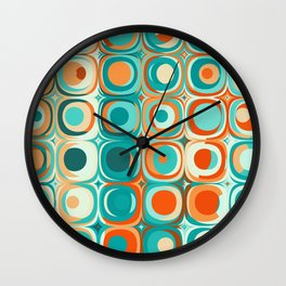 Orange and Turquoise Dots Wall Clock