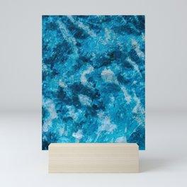 Blue - White Abstract Texture Mini Art Print