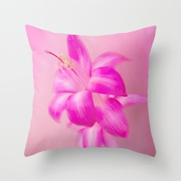 Pink Christmas Cactus Throw Pillow