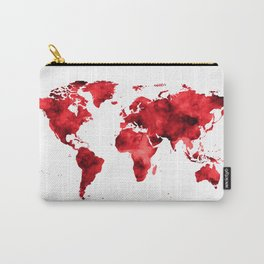 World Map Red Paint Carry-All Pouch