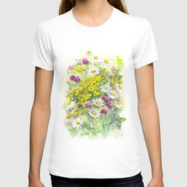 Watercolor meadow flowers spring T-shirt