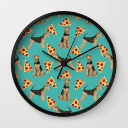 Airedale Terrier pizza pattern dog breed cute custom dog pattern gifts for dog lovers Wall Clock
