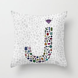 letter j - jewels Throw Pillow