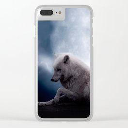 Awesome Wolf and Moon White Wolf Clear iPhone Case