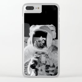 Apollo 12 - Face Of An Astronaut Moon Selfie Clear iPhone Case