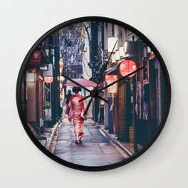 Geisha In Kyoto Wall Clock