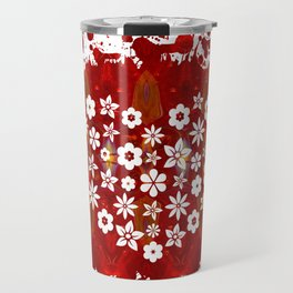 Red Heart Of Flowers Fantasy Designs Abstract Holiday Art  Travel Mug