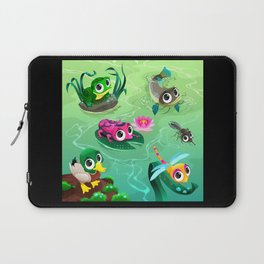 Funny animals in the pond Laptop Sleeve