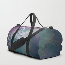 Surreal birds fly in a stormy sky Duffle Bag