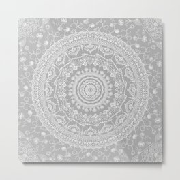 Secret garden mandala in soft gray Metal Print