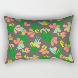 Henri's Garden in gray // tropical flora pattern Rectangular Pillow