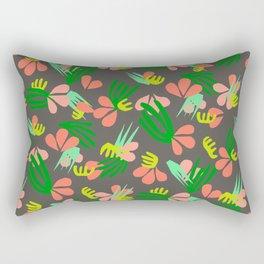 Henri's Garden in gray // tropical flora pattern Rectangular Pillow