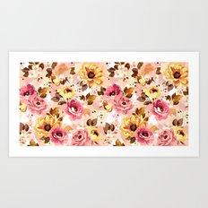 Pattern Flowers 01 Art Print
