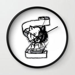 Wolf Head Pirate Ship Scroll Retro Wall Clock
