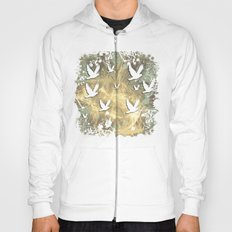 Birds on beige messy kaleidoscope Hoody