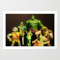 shrek Art Prints featuring It Aint Easy Being Green by Beastie Toyz