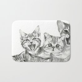 Kittens Pattern Cute Meowing Cats Bath Mat