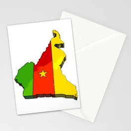 Cameroon Map with Cameroonian Flag Stationery Cards