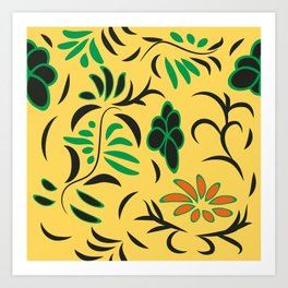 pattern with flowers and butterflies Art Print