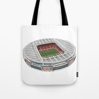 arsenal Tote Bags featuring The Emirates Stadium by Conal Deeney