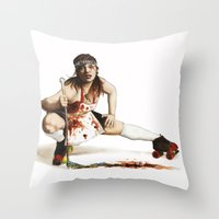 roller derby Throw Pillows featuring Roller Derby Girl by FeatherStone