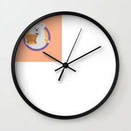 Polar Bear with Pizza in cirlce Wall Clock