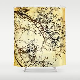 Black and Gold Tree Abstract Shower Curtain