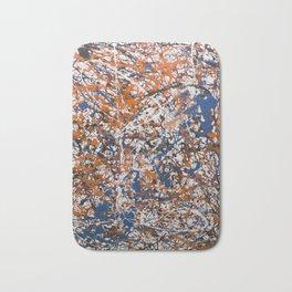 Orange,Blue, Flat black Action painting Bath Mat