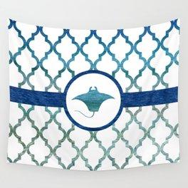 Manta Ray: Tropical Water Moroccan Pattern Wall Tapestry