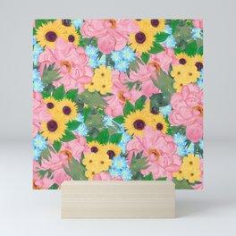 Trendy Pink Peonies Yellow Sunflowers Watercolor paint Mini Art Print
