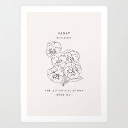 Botanical seed pack illustration - Pansy Art Print