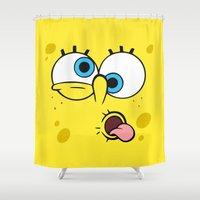 spongebob Shower Curtains featuring Spongebob Crazy Face by Cute Cute Cute