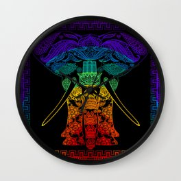 Multi Coloured Patterned Elephant Wall Clock