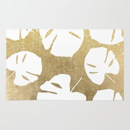 Tropical white monstera leaves on gold glitter ombre faux gold foil Rug
