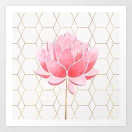 Lotus Blossom - Blush Pink and Metallic Gold Art Print