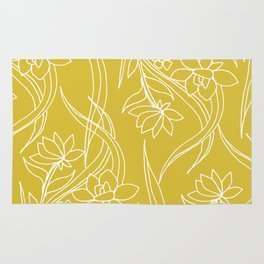 Floral Drawing in Yellow Rug