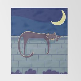 Cat on the wall Throw Blanket