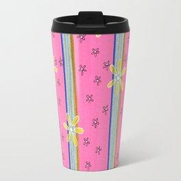 Daisey Stripe on Pink Travel Mug