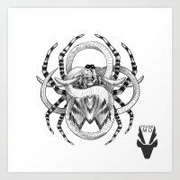 Snake, Stag & Spider Art Print